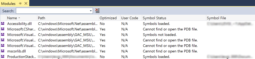 Visual Studio Modules View