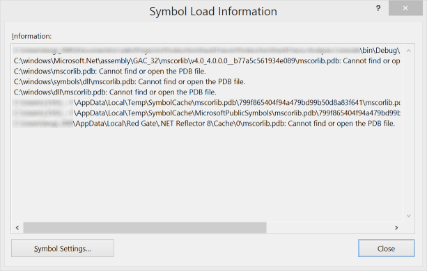Visual Studio Symbol Load Information